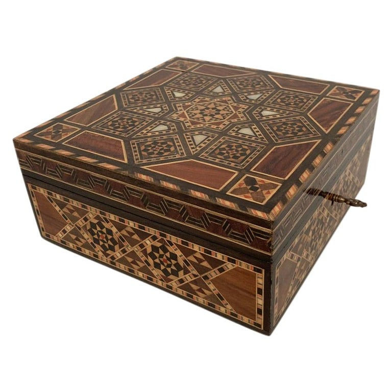 Anglo-Indian Mother of Pearl, Rosewood and Ebony Inlaid Box For Sale