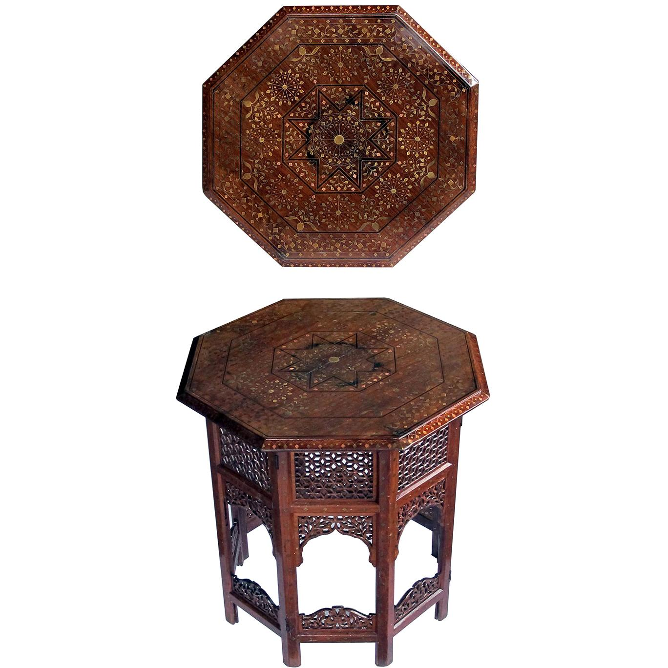 Anglo Indian Octagonal Side/Traveling Table with Brass and Copper Inlay