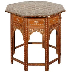 Anglo-Indian Octagonal Table with Inlay Chess Board