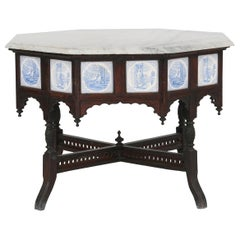 Anglo-Indian Octagonal Table with Marble Top