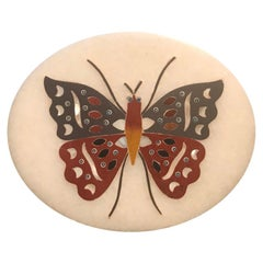 Anglo Indian Pietra Dura Inlaid Marble Butterfly Paperweight