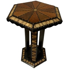 Anglo Indian Porcupine Quill Inlay Hexagonal Top Side Table, India, 19th Century