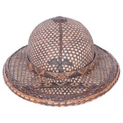 Anglo-Indian Rattan and Wicker Pith Helmet