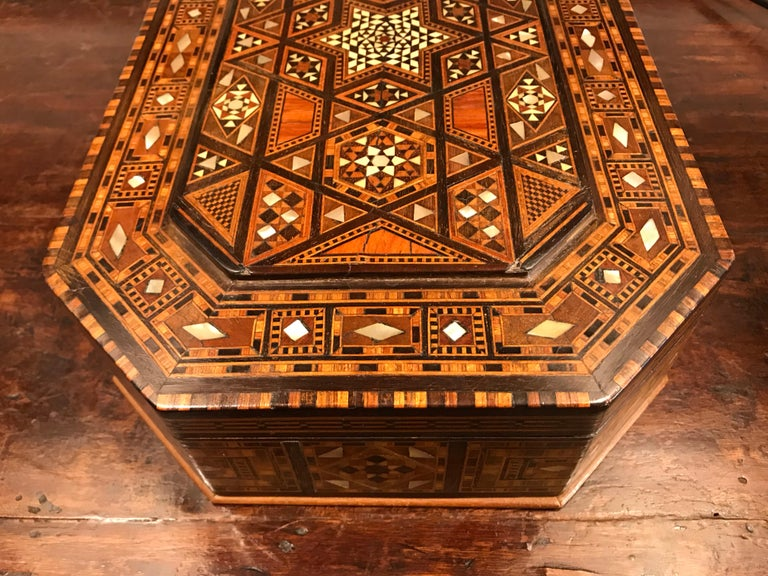 Moroccan Rosewood and Mother of Pearl Inlaid Box For Sale 4