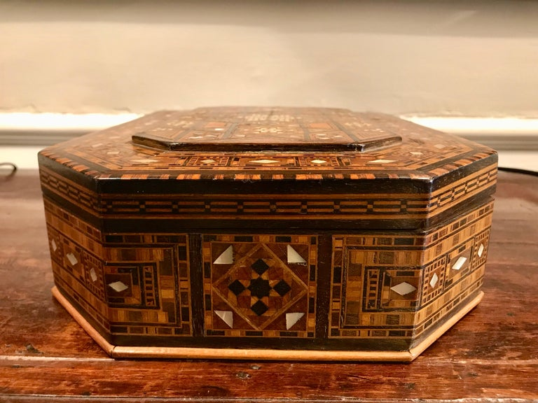 Moroccan Rosewood and Mother of Pearl Inlaid Box For Sale 7