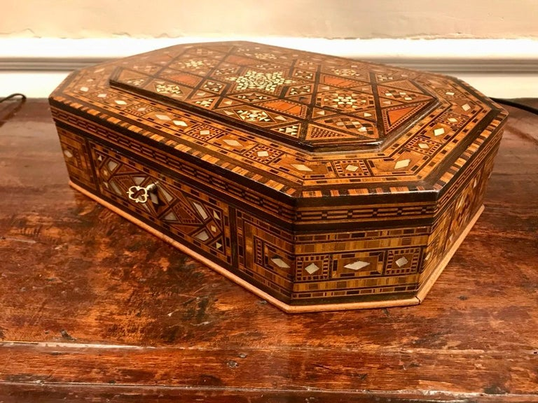Inlay Moroccan Rosewood and Mother of Pearl Inlaid Box For Sale