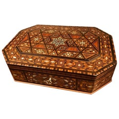 Moroccan Rosewood and Mother of Pearl Inlaid Box