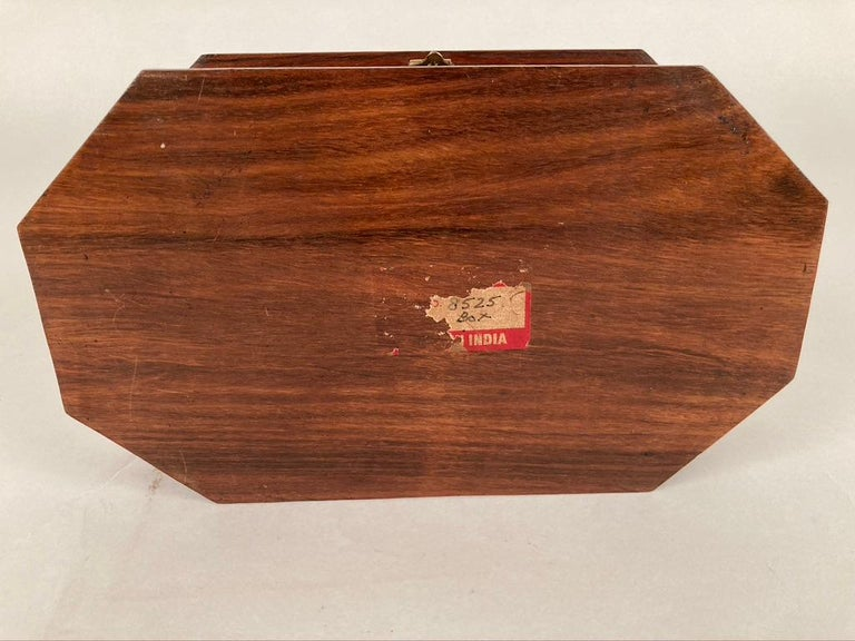 Anglo-Indian Rosewood Box with Brass Inlay For Sale 9
