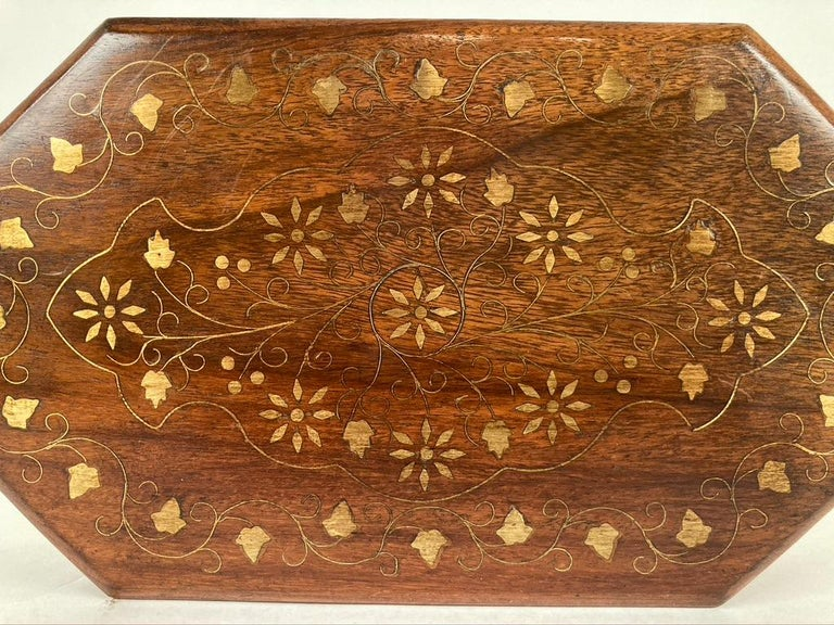 Anglo-Indian Rosewood Box with Brass Inlay In Good Condition For Sale In Stamford, CT