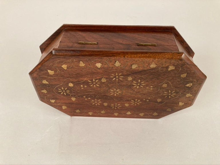 20th Century Anglo-Indian Rosewood Box with Brass Inlay For Sale