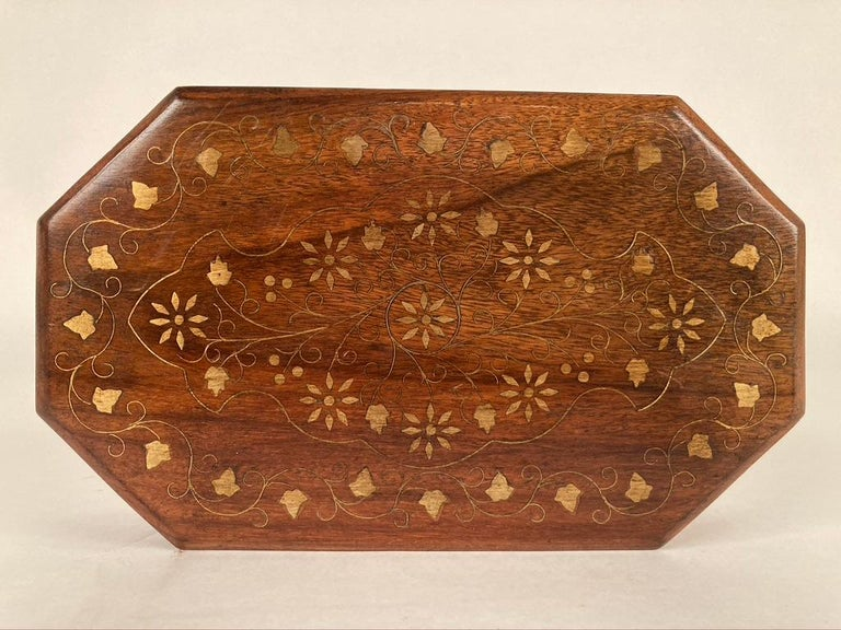 Anglo-Indian Rosewood Box with Brass Inlay For Sale 1