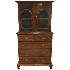 Anglo-Indian Rosewood Campaign Chest with Bookcase Top, circa 1840