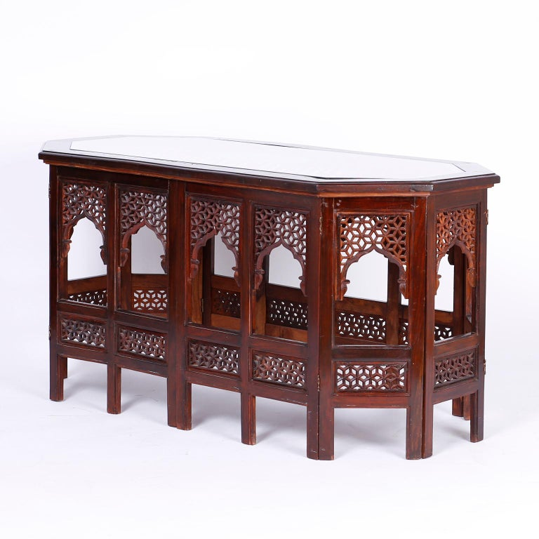 Hand-Carved Anglo Indian Rosewood Coffee Table For Sale