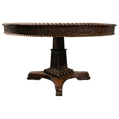 Anglo-Indian Round Carved Padauk Wood Tilt-Top Center Table, circa 1880