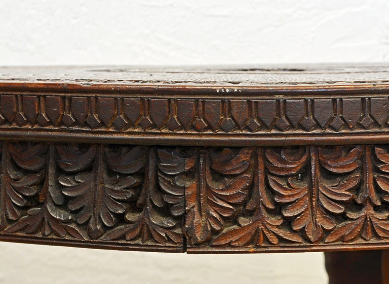 Anglo-Indian Sculptural Carved Elephant Head and Lion Side Table For Sale 5