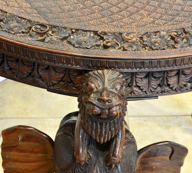 Anglo-Indian Sculptural Carved Elephant Head and Lion Side Table For Sale 11