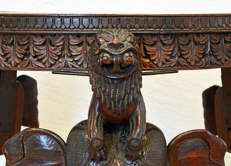 Iron Anglo-Indian Sculptural Carved Elephant Head and Lion Side Table For Sale