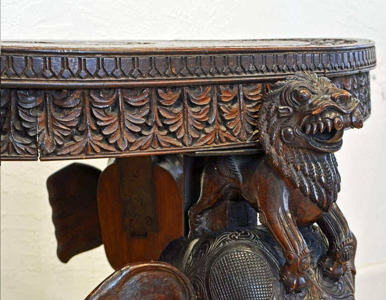 Anglo-Indian Sculptural Carved Elephant Head and Lion Side Table For Sale 3