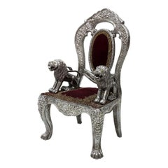 Anglo-Indian Silver Embossed Throne Armchair, 19th Century