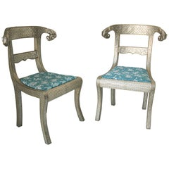 Anglo-Indian Silvered Wrapped Clad Side Chairs a Pair