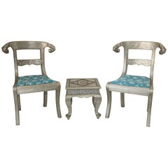 Anglo-Indian Silvered Wrapped Clad Side Chairs and Table