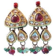 Anglo-Indian Style Diamond Ruby Emerald Gold Enamel Earrings