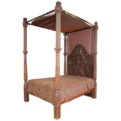 Anglo-Indian Style Tall Bed with Carved and Fluted Posts, Carved Panel Headboard