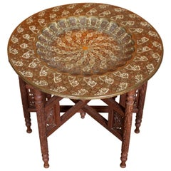 Anglo-Indian Table Enameled Brass Tray Table