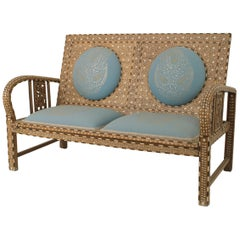 Anglo-Indian Teak Inlaid Upholstered Loveseat