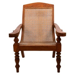 Anglo-Indian Teakwood and Cane Plantation Chair