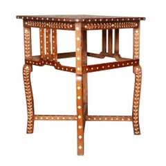 Anglo Indian Teakwood Side Table with Bone Inlay