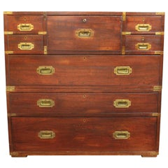 Anglo-Indian Victorian Campaign Chest with Integrated Writing Desk