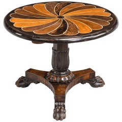 Anglo-Portuguese 19th Century Inlaid Table with Exotic Timbers
