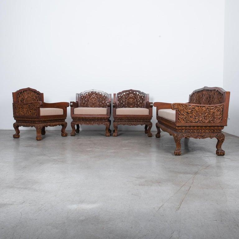 Southeast Asian Anglo Raj Carved Rosewood Sofa Set, Set of 4