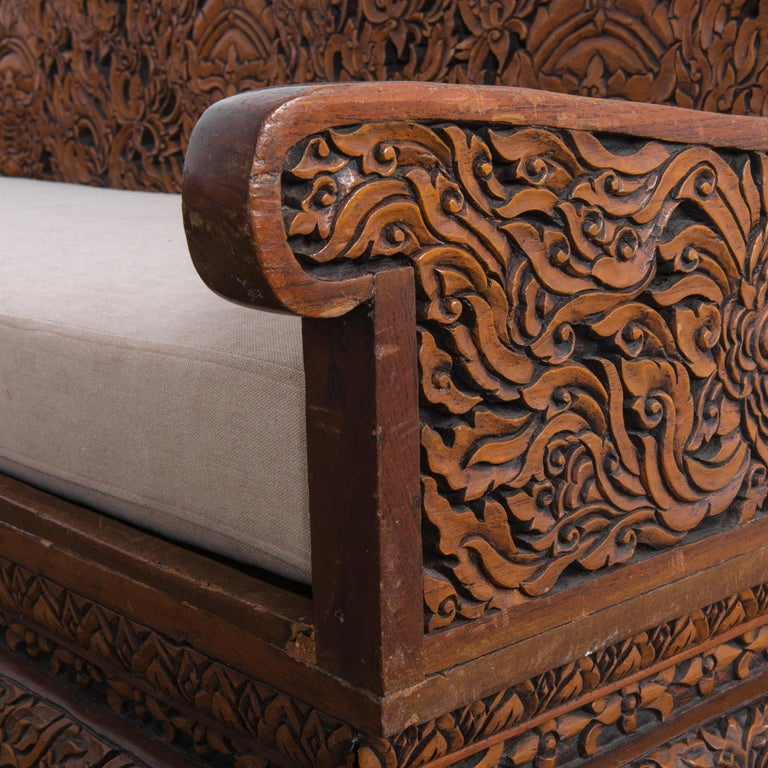 Anglo Raj Carved Rosewood Sofa Set, Set of 4 In Good Condition In High Point, NC