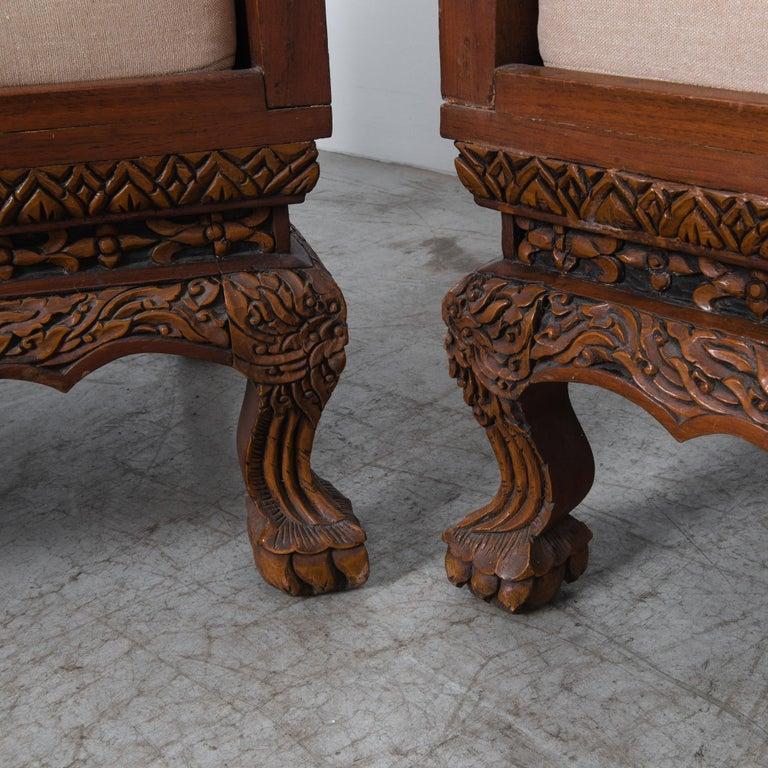 Anglo Raj Carved Rosewood Sofa Set, Set of 4 1
