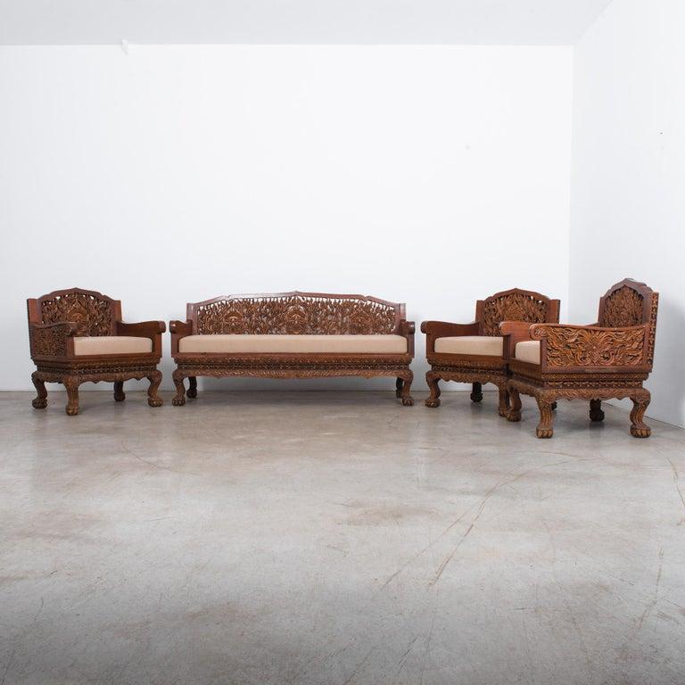Anglo Raj Carved Rosewood Sofa Set, Set of 4 2