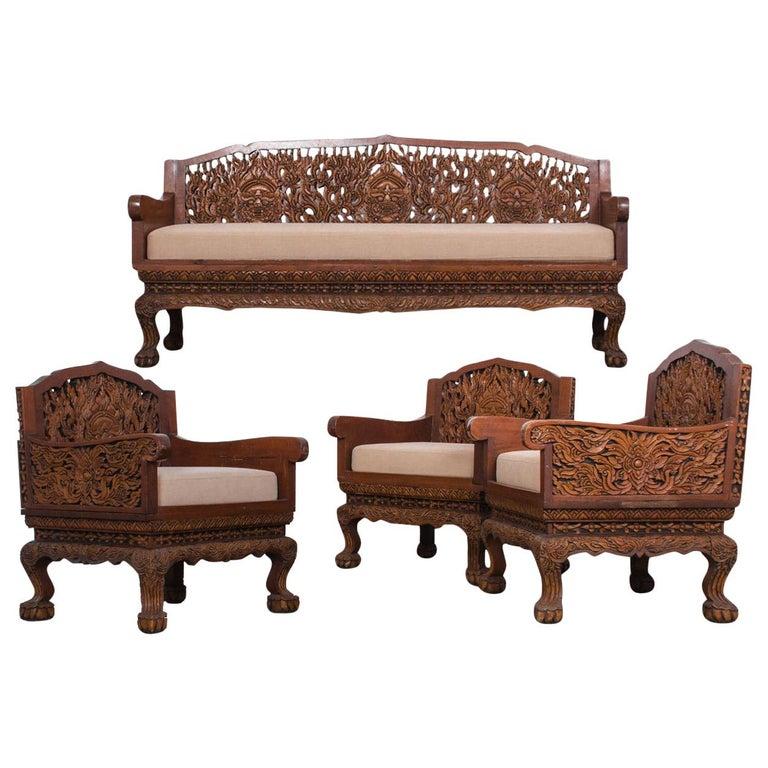 Anglo Raj Carved Rosewood Sofa Set, Set of 4
