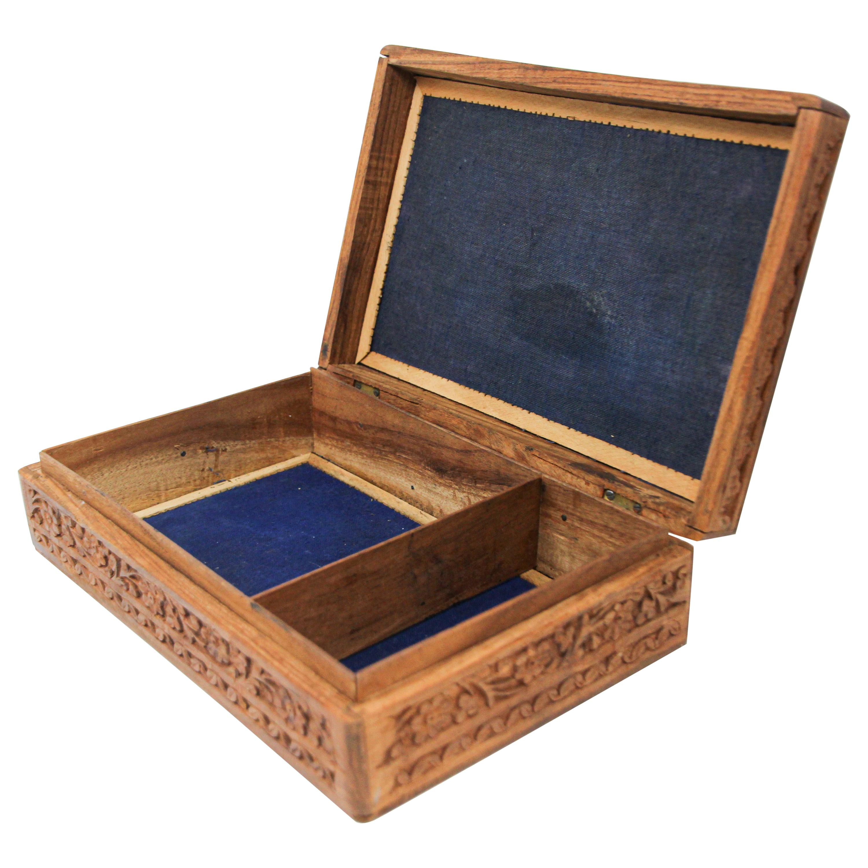 Anglo Raj Hand Carved Wooden Decorative Jewelry Box