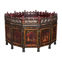 Anglo-Raj Indian Hand-Painted Teak Coffee Table