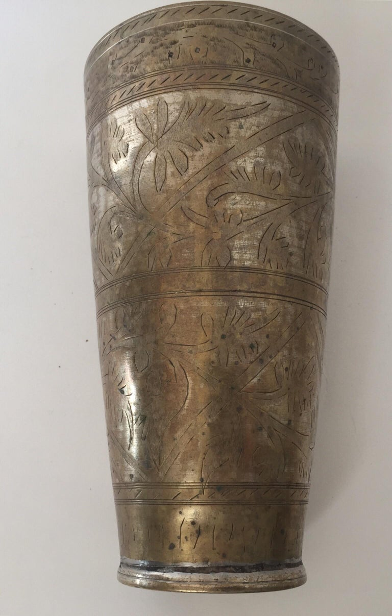 Anglo Raj Mughal Brass Engraved Beakers Set of 2 For Sale 5