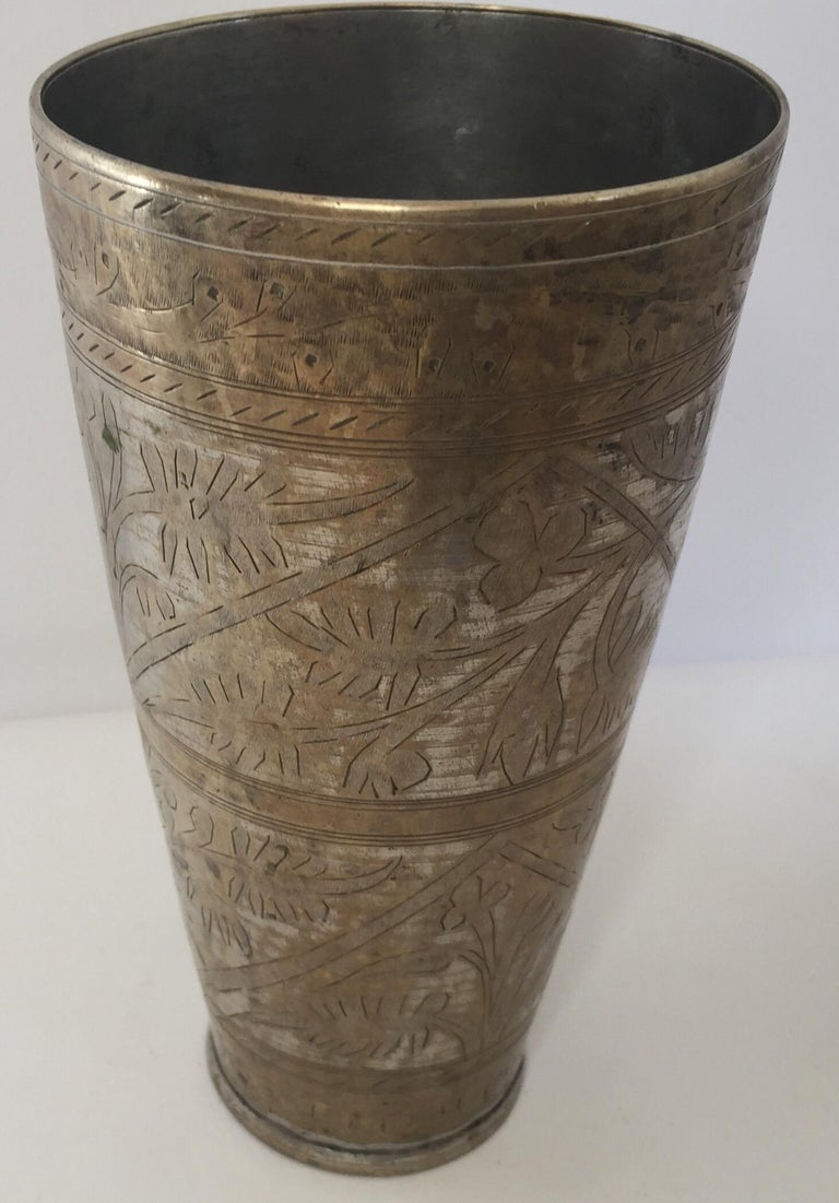Anglo Raj Mughal Brass Engraved Beakers Set of 2 For Sale 10