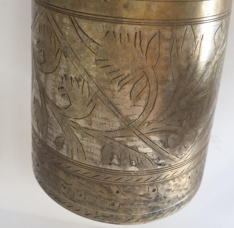 Anglo Raj Mughal Brass Engraved Beakers Set of 2 For Sale 12