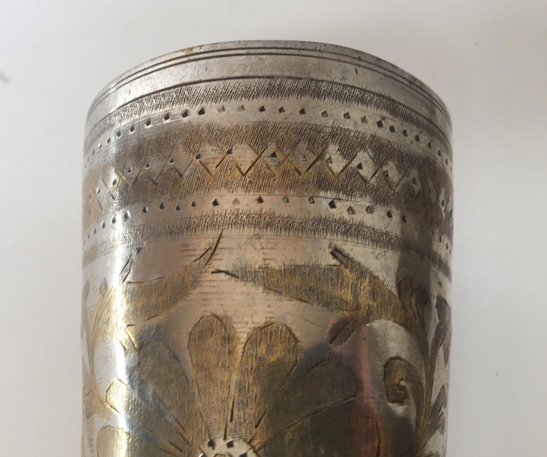 Hand-Carved Anglo Raj Mughal Brass Engraved Beakers Set of 2 For Sale