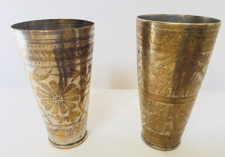 Silver Plate Anglo Raj Mughal Brass Engraved Beakers Set of 2 For Sale