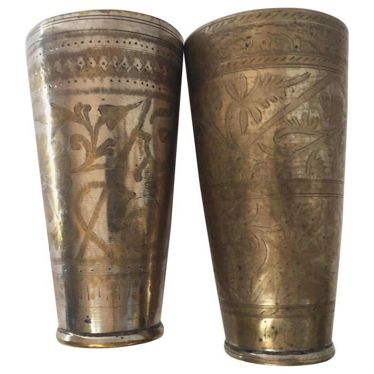 Anglo Raj Mughal Brass Engraved Beakers Set of 2 For Sale