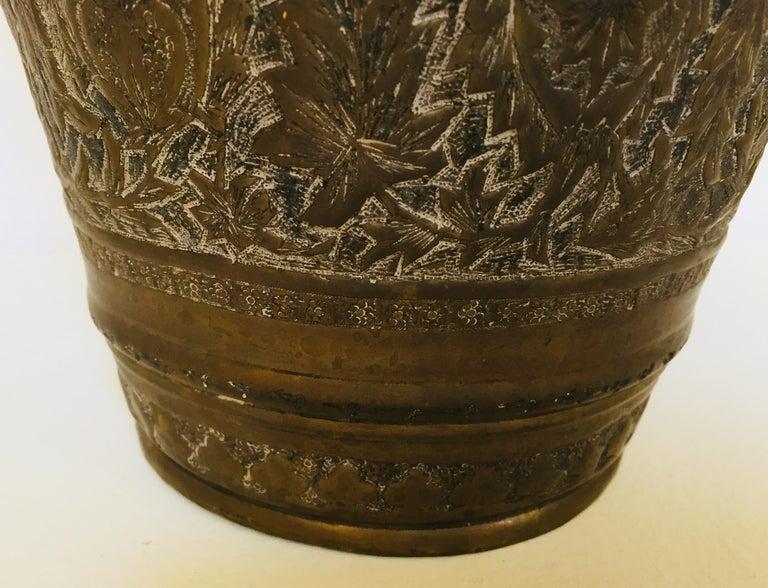 Brass Anglo-Raj Mughal Bronzed Copper Vessel Bucket For Sale