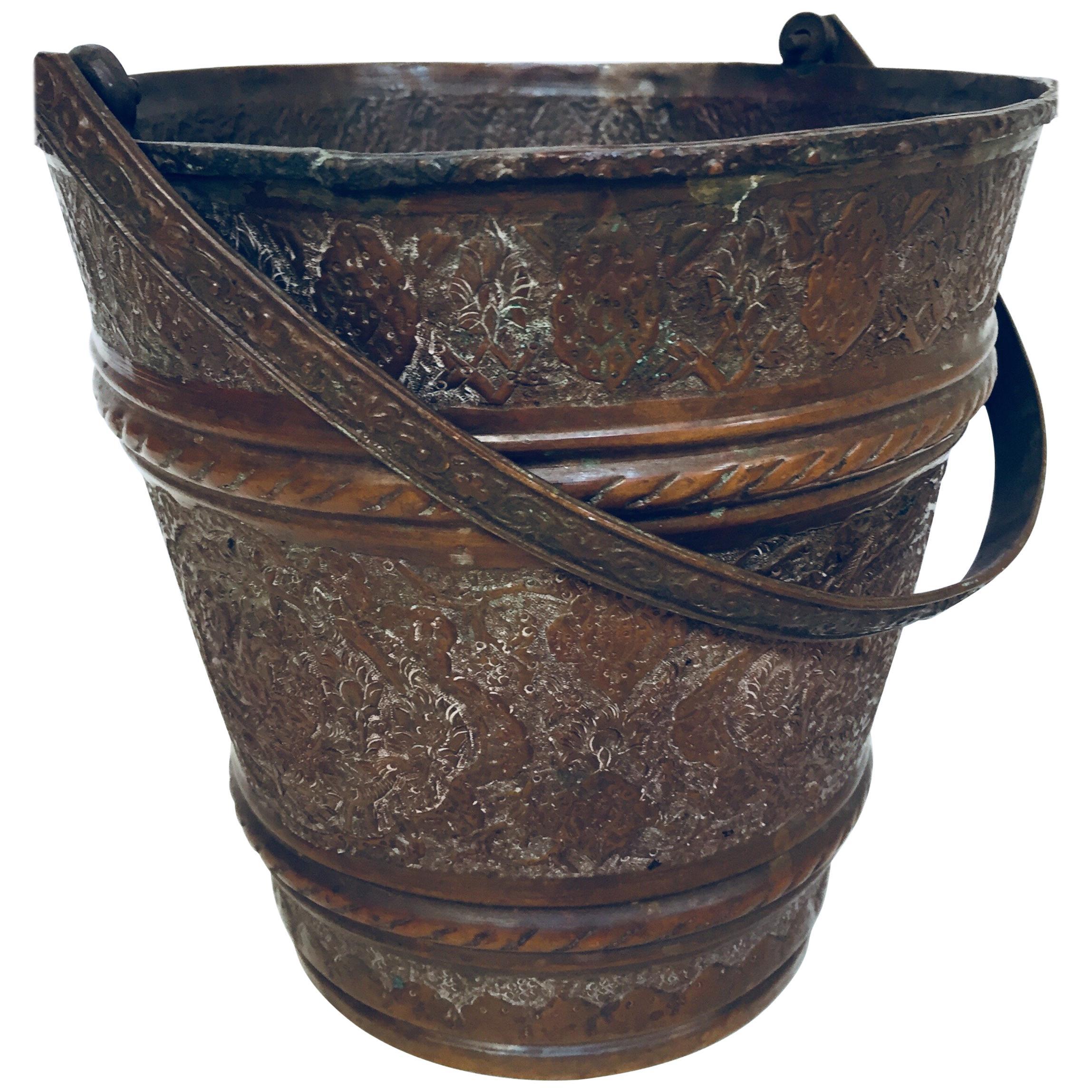 Moorish Mughal Metal Copper Vessel Bucket