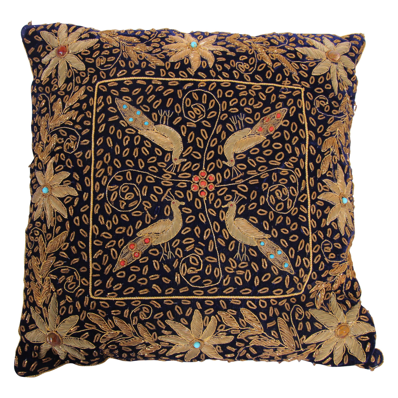 Anglo Raj Royal Blue Silk Throw Pillow Embroidered with Gold Peacocks