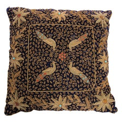 Anglo Raj Royal Blue Silk Throw Pillow Embroidered with Gold Peacocks